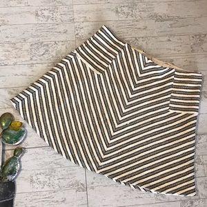 Ann Taylor Loft lined cotton chevron skirt sz L